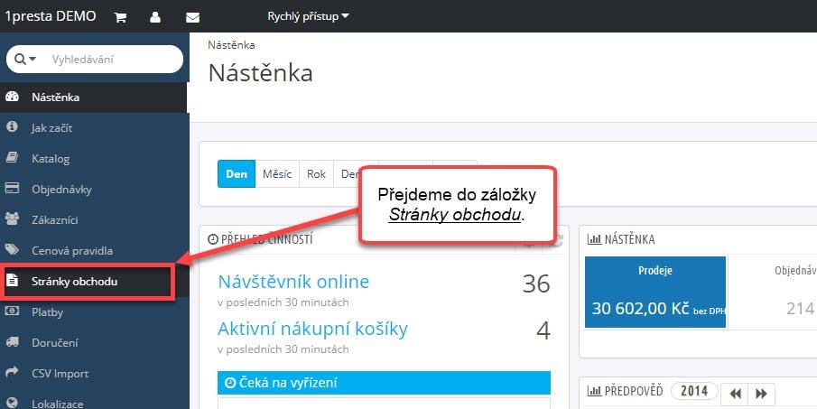 Přechod do záložky Stránky obchodu. | 1presta.cz